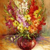 Gladiole, 1984., ulje na platnu, 100x73 cm