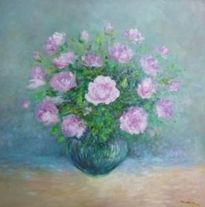 Ljubičaste ruže, 2014., ulje na platnu, 80x80 cm