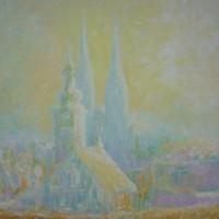 Od Griča prema Kaptolu, 1985., ulje na platnu, 81x65 cm