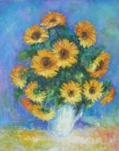 Suncokreti, 1986., ulje na platnu, 100x80 cm