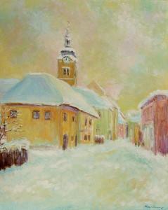 Jedne davne zime (Križevci), 1966., ulje na lesonitu, 50x40