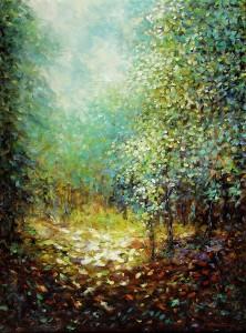 Jednog kolovoskog jutra, 1986., ulje na platnu, 81x65 cm