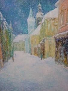 Siječanj u Kukuljevićevoj, 1993., ulje na platnu, 100x73 cm